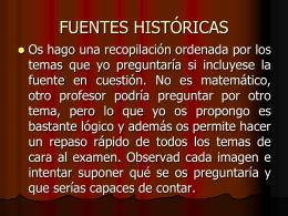g) Miscelánea de fuentes históricas de todos los temas