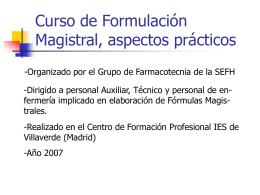 Curso de Formulación Magistral - Sociedad Española de Farmacia