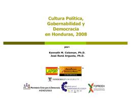 Cultura Política, Gobernabilidad y Democracia en Honduras, 2008