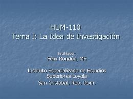 Profesor Rondon Tema 1 La Idea de Investigación