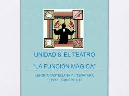 """UNIDAD 8: EL TEATRO """"LA FUNCIÓN MÁGICA"""""""