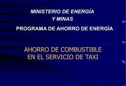 ahorro de combustible en taxis - Ministerio de Energía y Minas