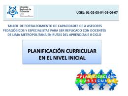 Planificación Curricular en el Nivel Inicial (segundo día)