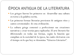 ÉPOCA ANTIGUA DE LA LITERATURA