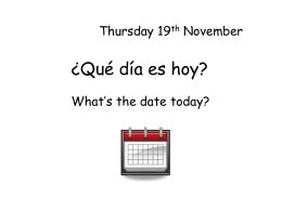 ¿Qué día es hoy? - Primary Resources