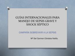guías internacionales para manejo de sepsis grave y shock séptico