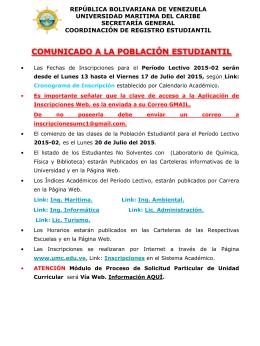COMUNICADO 2015-02 - Universidad Marítima del Caribe