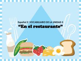 """Español 3: VOCABULARIO """"En el restaurante"""""""