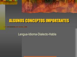 2. Lengua, idioma, dialecto, habla