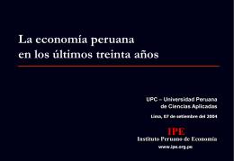 La economía peruana en los últimos treinta años