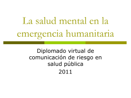 La salud mental en la emergencia - Aula Virtual Regional. Campus