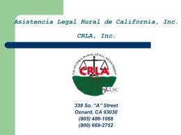 (805) 486-1068 (800) 669-2752 Asistencia Legal Rural de