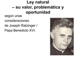 Ley natural – su valor, problemática y oportunidad
