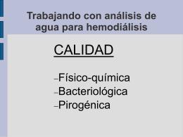 Trabajando con análisis de agua para hemodiálisis