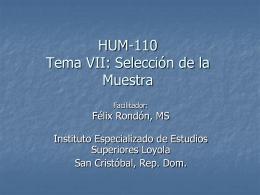 Profesor Rondon Tema 7 Selección de Muestra