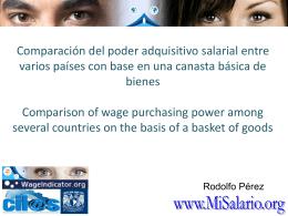 Comparación del poder adquisitivo salarial entre varios países