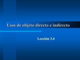 Usos de objeto directo e indirecto