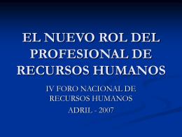 Rol del Profesional de RRHH, hoy.