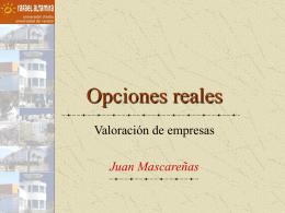 opciones reales. valoración de empresas
