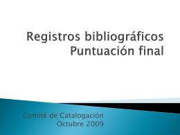 Registros bibliográficos Puntuación final