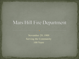 Fire Department History - The Town Of Mars Hill North Carolina