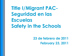Title I/Migrant PAC-Safety in the Schools
