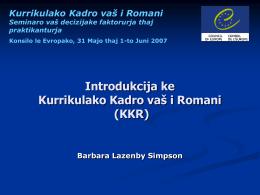 E Kurrikulako Kadro vaš i Romani