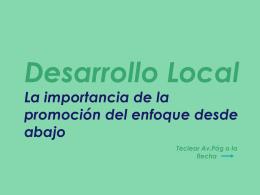 Desarrollo Local La importancia de su promoción