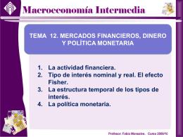 2. Tipos de interés nominales y reales. El efecto Fisher.