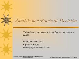 Análisis por Matríz de Decisión