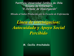 Autocuidado y Apoyo Social - Pontificia Universidad Católica de