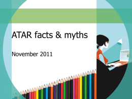 ATAR facts & myths - Universities Admissions Centre