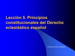 Lección 5. Principios constitucionales del Derecho eclesiástico
