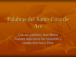 Palabras del Santo Cura de Ars - Orden Hospitalaria San Juan de