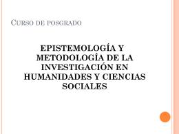 Epistemología y metodología de la investigación
