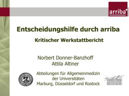 """Werkstattbericht der Arbeitsgruppe """"arriba"""""""