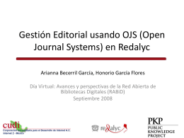 Gestión Editorial usando OJS (Open Journal Systems) en Redalyc