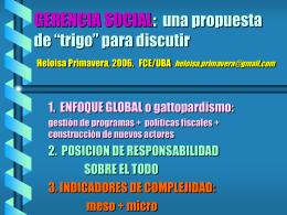GERENCIA SOCIAL: una propuesta de trigo para discutir
