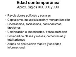 Edad contemporánea Aprox. Siglos XIX, XX y XXI