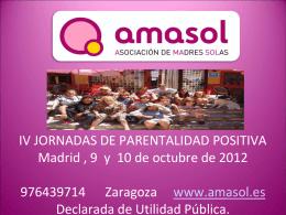 Amasol, asociación de madres solas. Familias monomarentales