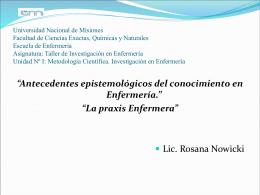 Antecedentes Epistemológicos del conocimiento Enfermero. La