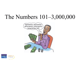 Numbers, 101-3,000,000