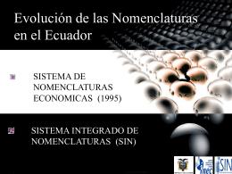 Evolución de las Nomenclaturas en el Ecuador
