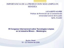 IMPORTANCIA DE LA PRODUCCION MÁS LIMPIA EN MINERÍA