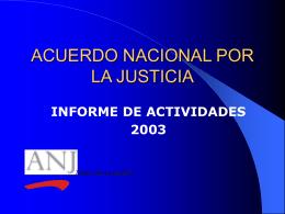 Balance de actividades 2003: resultados a la fecha