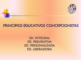 PRINCIPIOS EDUCATIVOS - Concepcionistas Misioneras de La