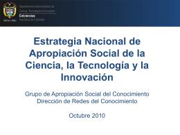 Estrategia Nacional de Apropiación Social de la Ciencia, la