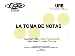 La toma de notas - Universitat Autònoma de Barcelona