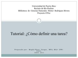Cómo definir una tarea - Biblioteca Ciencias Naturales Universidad