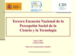 Tercera Encuesta Nacional de la Percepción Social de la Ciencia y